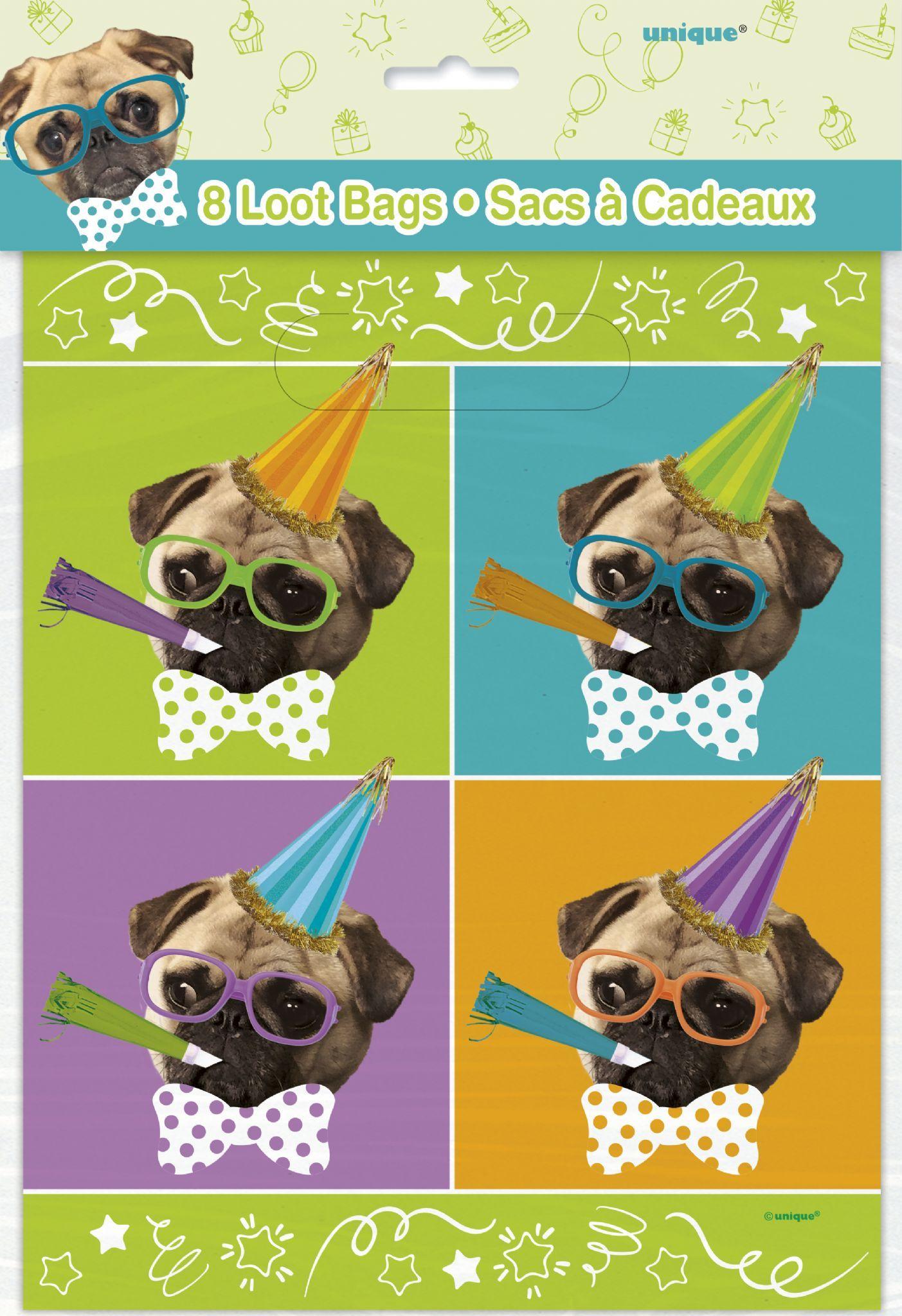 Pug Puppy Happy Birthday Lootbags 8's